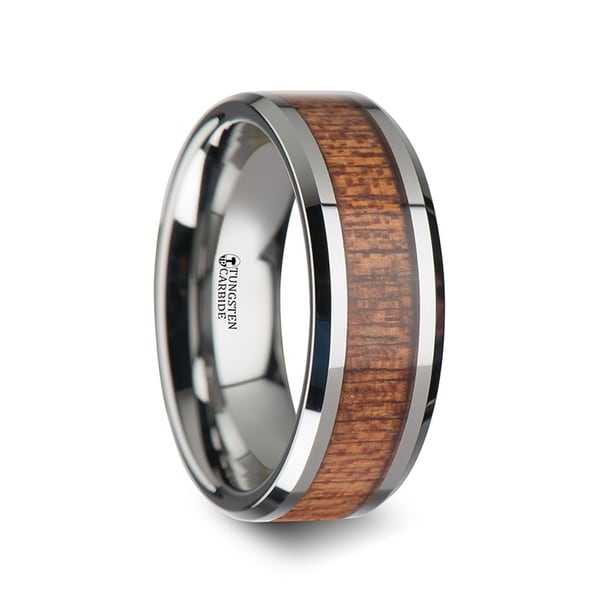 Congo Tungsten Wedding Band With Polished Bevels And African Sapele Wood Inlay