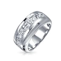 Bling Jewelry Sterling Silver Wedding Band Invisible Cut CZ Mens Ring