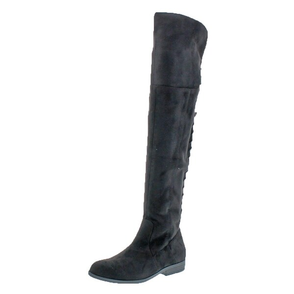 L4L by Lust for Life Womens Ramsey Over-The-Knee Boots Suedette Lace-Up