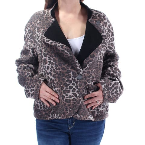 ARMANI Womens Brown Animal Print Collared Button Down Jacket Size 10