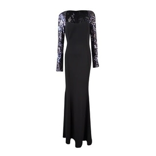 JS Collections Women's Sequined Mesh Jersey Gown - 14