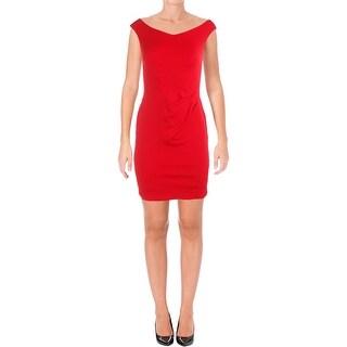 Lauren Ralph Lauren Womens Petites Party Dress Ruched Off-The-Shoulder