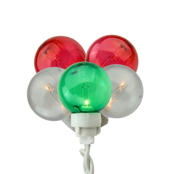 Set of 100 Green, Red and White G30 Globe Icicle Christmas Lights - White Wire - green