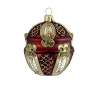 """Set of 4 Red and Gold Jeweled Glass Bauble Christmas Ornaments 3"""""""