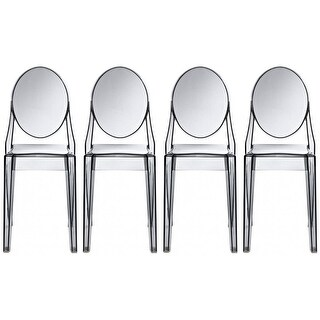 2xhome -Set of 4, Smoke Transparent Plastic Dining Chairs Modern Designer Chair Stackable Chairs Accent Chairs
