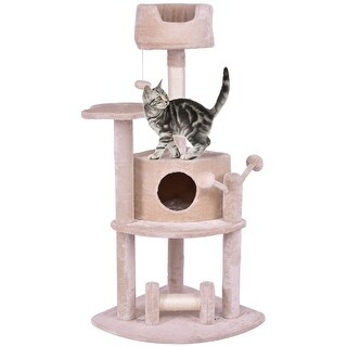 Gymax 52'' Cat Tree Pet Kitten Play House Tower Condo Bed Scratching Post w Hanging Toy