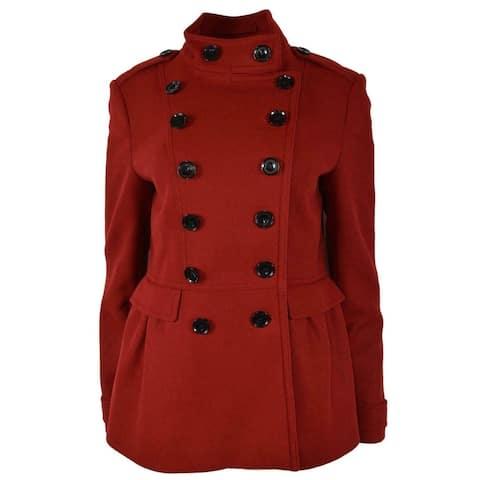 New Burberry Women's Adamsleigh Red Wool Cashmere Peplum Military Coat