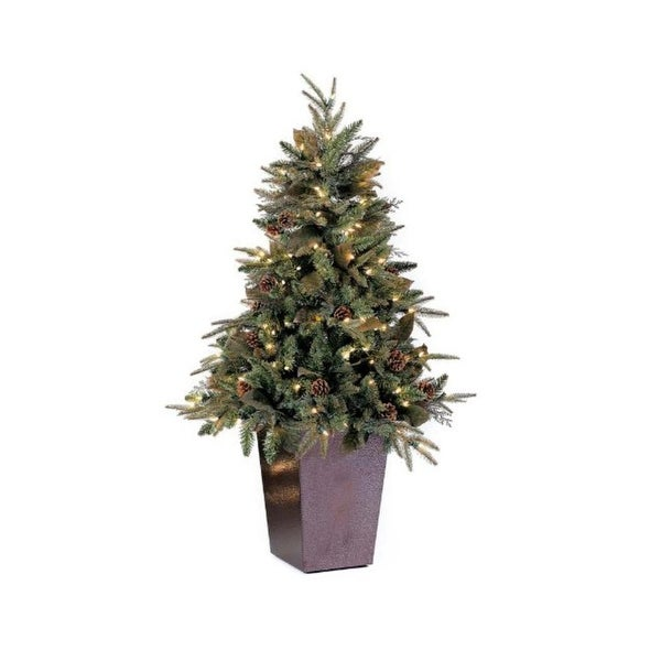 5' Potted Pre-Lit Green River Spruce Medium Artificial Christmas Tree - Clear Lights