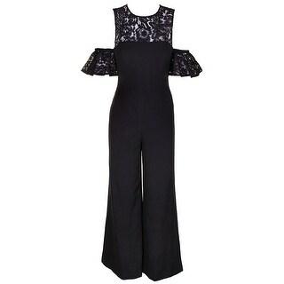 Fame And Partners Black Cold-Shoulder The Carnation Lace-Trim Jumpsuit 2