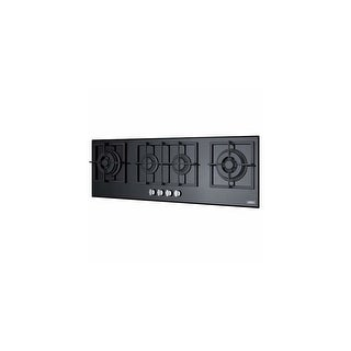Summit GC443BGL 4-burner island gas-on-glass cooktop w/sealed burners & cast iro - Black - N/A