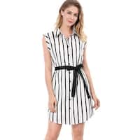 Allegra K Women Striped Sleeveless Belted Shirt Dress w Cami - White
