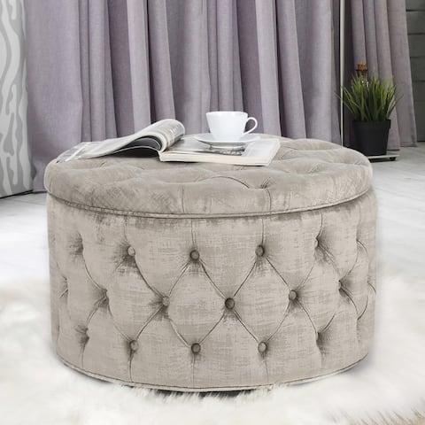 Adeco Round Velvet Storage Ottoman, Button Tufted Footrest Stool