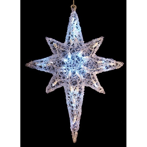"""24"""" LED Lighted Color Changing Hanging Star of Bethlehem Christmas Decoration - CLEAR"""