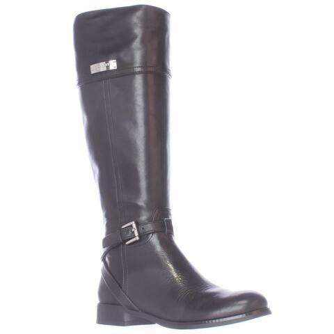 Coach Micha Buckle Strap Riding Boots, Black