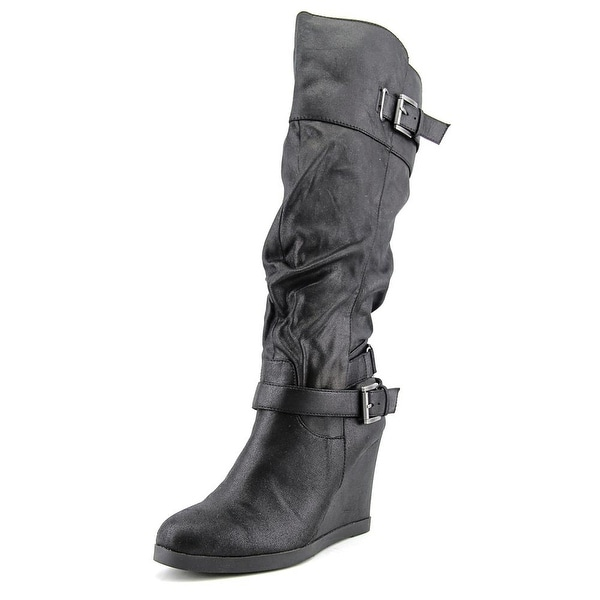 Dune Tantor Women Round Toe Synthetic Black Knee High Boot