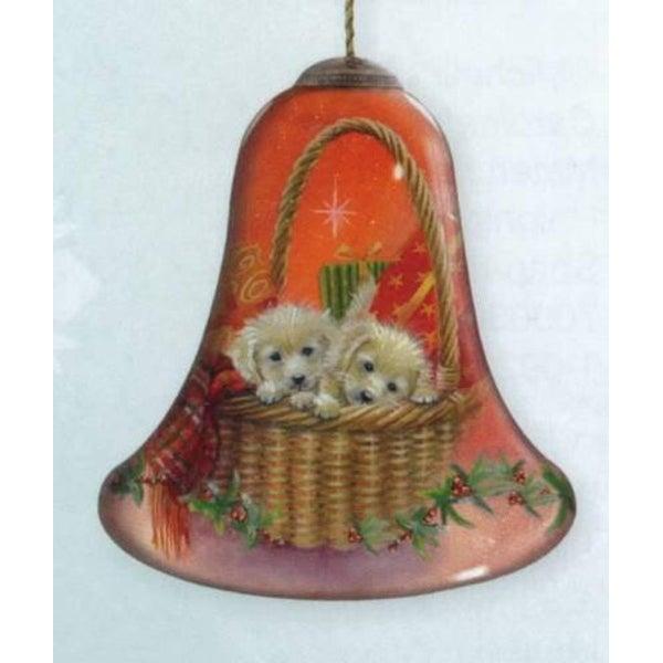 "Ne'Qwa ""Puppies for Christmas"" Hand-Painted Glass Christmas Ornament #7131175"