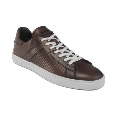 TOD'S Men's Leather Low-Top Sneaker Shoes Brown
