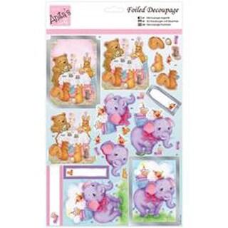 Anita's A4 Foiled Decoupage Sheet-Animals' Tea Party