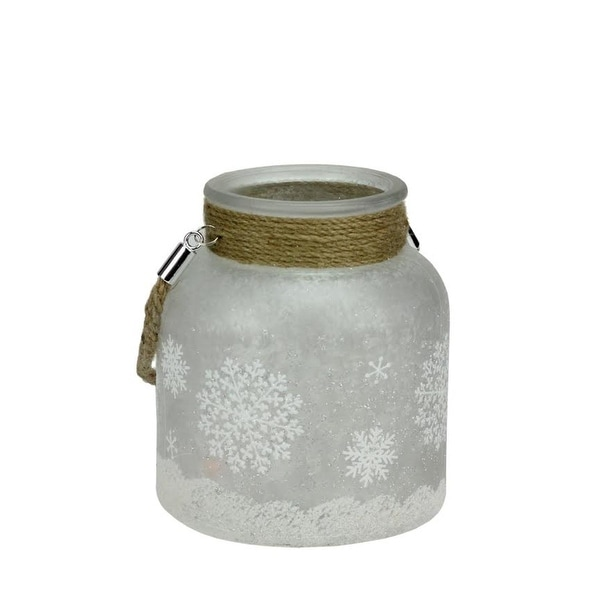 """6.25"""" White Iced with Glittered Snowflakes Decorative Pillar Candle Holder Lantern with Handle"""