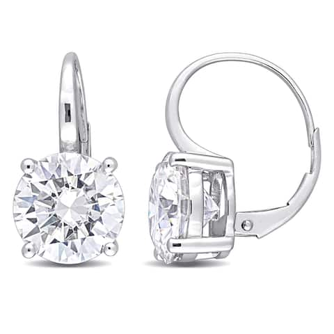 Miadora 7ct DEW Moissanite Solitaire Leverback Drop Earrings in 10k White Gold - 19.2 mm x 10 mm x 14.7 mm