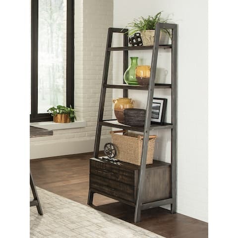 Jonas Burnished Cognac Ladder Bookcase with Two Drawers