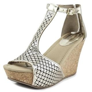 Kenneth Cole Reaction Sole Tan Women Open Toe Synthetic Wedge Sandal