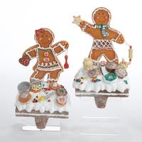 Pack of 4 Gingerbread Kisses Girl and Boy Cookie Stocking Holders 7.5""
