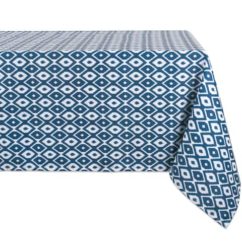 Blue and White Ikat Patterned Rectangular Tablecloth 60 x 120 - N/A