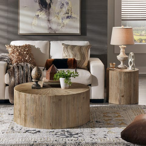 Ryker Distressed Reclaimed Wood Cylindrical Table Set by iNSPIRE Q Artisan