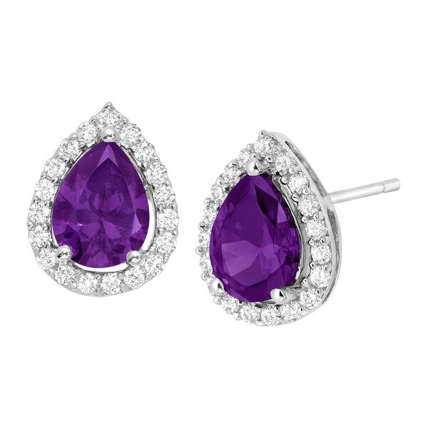 Purple & White Cubic Zirconia Pear Stud Earrings in Sterling Silver
