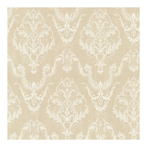 Wiley Beige Lace Damask Wallpaper - 20.5in x 396in x 0.025in