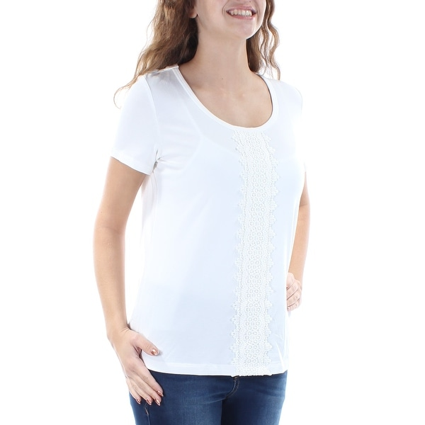 f6ee0e6a Shop TOMMY HILFIGER Womens Ivory Embellished Short Sleeve Jewel Neck Top  Size: XS - On Sale - Free Shipping On Orders Over $45 - Overstock.com -  21389997
