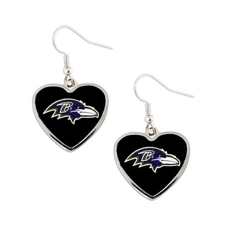 NFL Baltimore Ravens Heart Shape Dangle Logo Earring Set Charm Gift(Not Swirl)