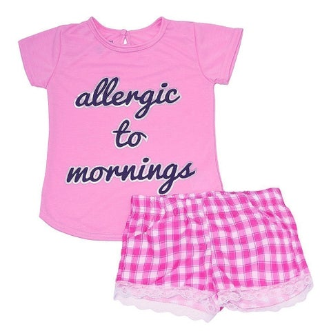 "Girls Pink ""Allergic To Mornings"" Checkered Print 2 Pc Pajama Set"