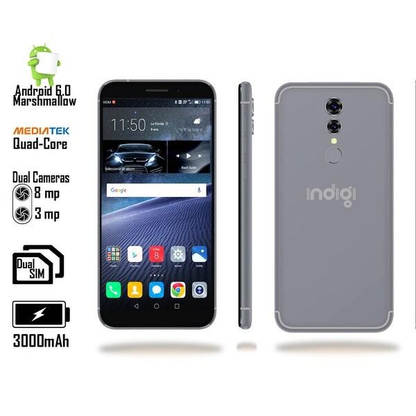 4G LTE Unlocked SmartPhone by Indigi (QuadCore @ 1.2GHz + Android 6 Marshmallow + 8MP CAM + 2SIM + Fingerprint) Black