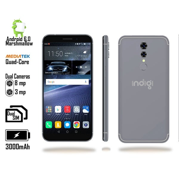 Indigi 4G LTE Unlocked 5.6-inch Android Marshmallow SmartPhone w/ Fingerprint Access & Google Play Store + 32gb microSD - Black