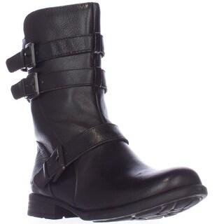 Born Buckley Buckle Strap Mid-Calf Boots - Black