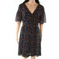 Madewell Blue Women's Size 22 Floral Print V Neck A-Line Dress