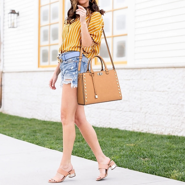 Dasein Gold Studs Satchel with Twist Lock and Matching Wristlet. Opens flyout.