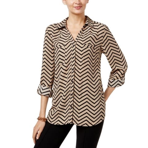 NY Collection Women's Blouse Black Size Small S Button Down Shirt