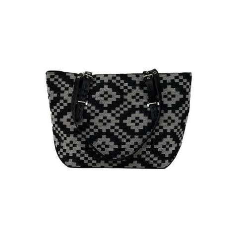 Bandana Western Handbag Tapestry Woven Fabric Tote Black - 15 x 11 x 5.5
