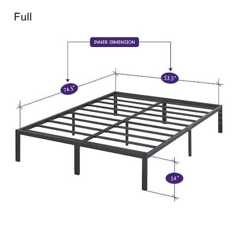Sleeplanner 14-inch Modern Black Metal Platform Bed Frame