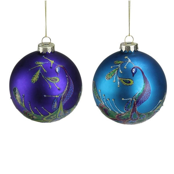 Set of 2 Regal Peacock Purple and Blue Glass Ball Christmas Ornament 4""
