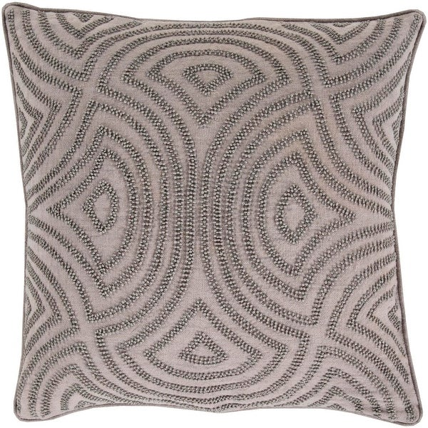 "20"" Gray Geometric Woven Beaded Square Throw Pillow - Down Filler"
