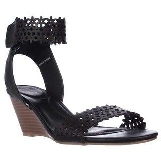 XOXO Sadler Flower Strap Wedge Sandals - Black