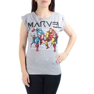 Womens Gray Avengers Short Sleeve Crew Neck T-Shirt Top Size S