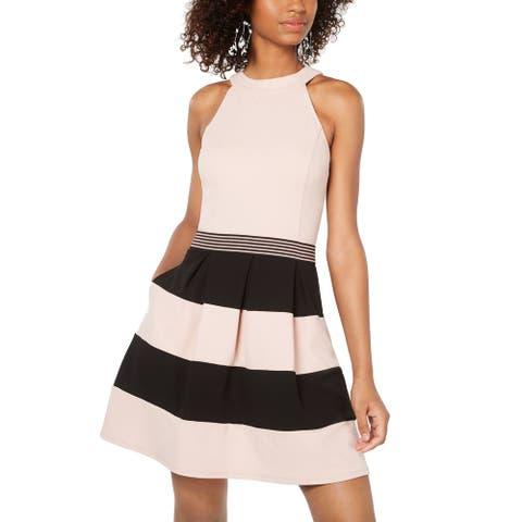 Speechless Junior A-Line Dress Pink Combo Size Large L Halter Stripe