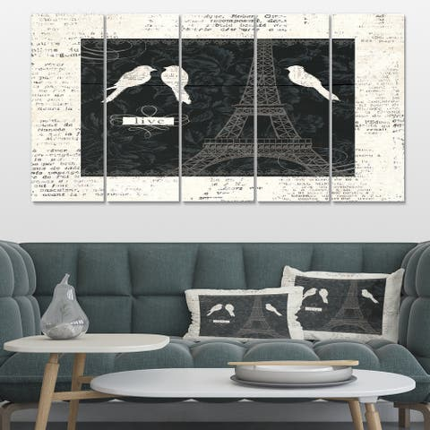 Designart 'Paris Vintage Collage II' French Country Canvas Art