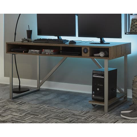 Barolli Contemporary Gaming Desk, Whitewash/Black