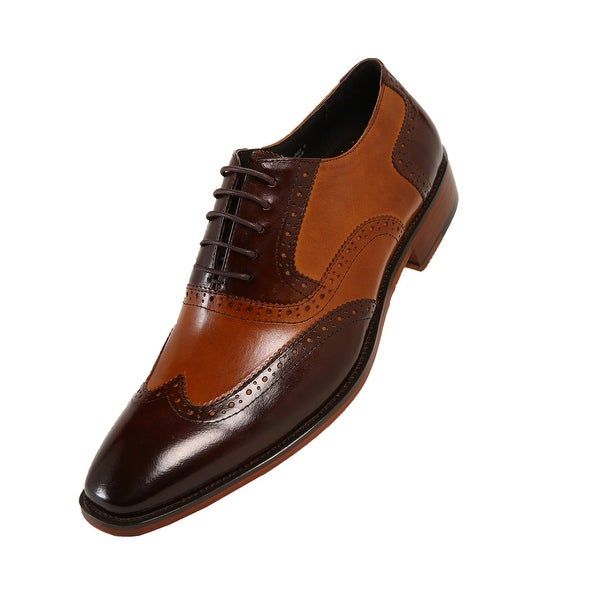 AG100-065 Asher Green Mens Two Tone Brown /& Cognac Genuine Leather Wingtip